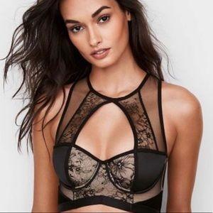 NWT Victoria's Secret Black lace half corset bra!